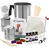 Complete DIY Candle Making Kit Supplies – Create Large Scented Soy Candles – Full Beginners Set Including 2 LB Wax, Rich Scents, Dyes, Wicks, Melting Pitcher, Tin Containers and more