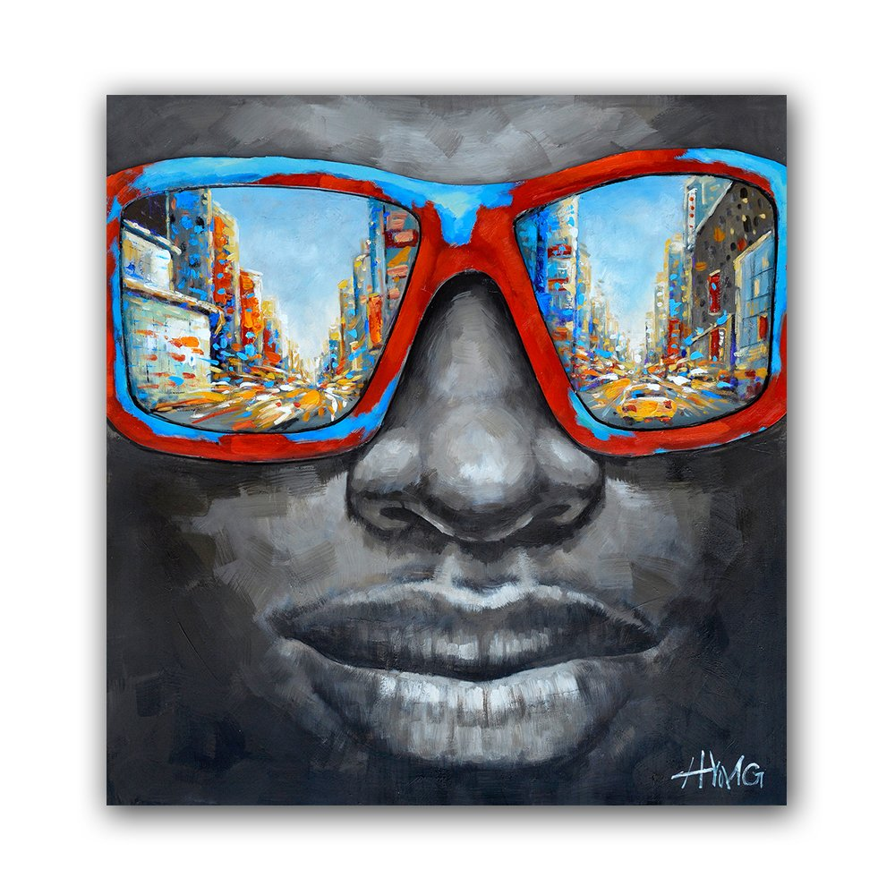 Modern Black Men Pop Star Canvas Prints Plus Oil Paints on Canvas Cool Wall Art (36 x 36 inch, A Framed)