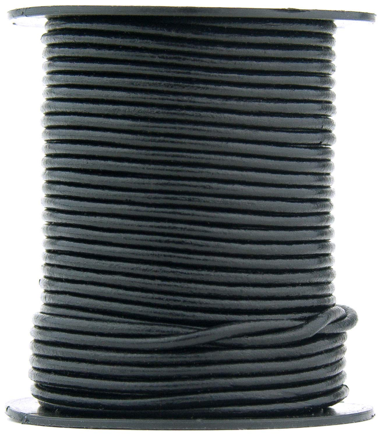 Black Round Leather Cord 1.5mm 25 Meters (27.34 Yards)
