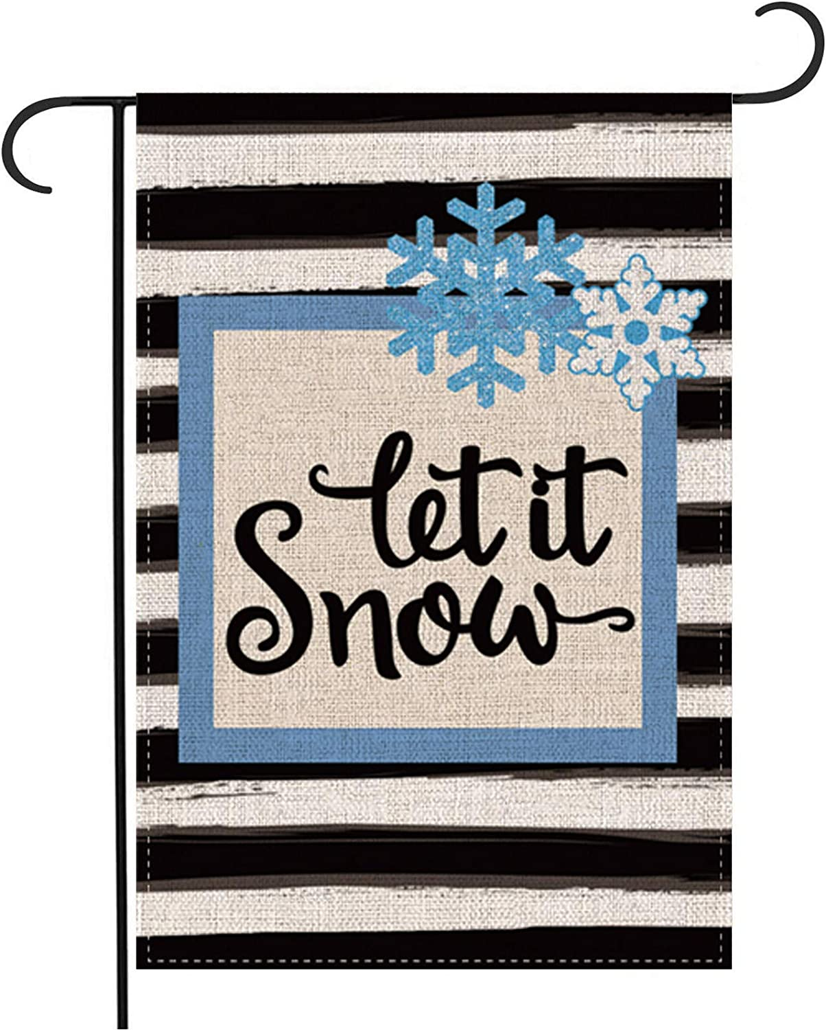 Pecsu Watercolor Stripe Let it Snow Garden Flag Snowflake Vertical Double Sized, Farmhouse Christmas Flags Winter Holiday Party Yard Lawn Outdoor Decoration 12.5 x 18 Inch