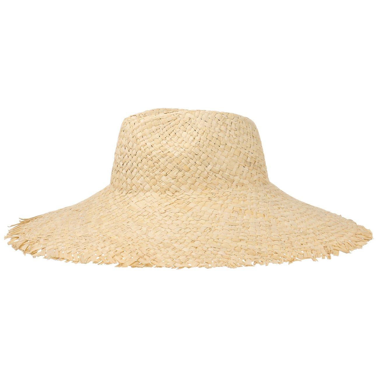 Karibik Strohhut Damen/Herren | Sommerhut aus 100% Stroh | Hut in Einheitsgröße (58-61 cm) | ausgefranste Krempe (15 cm) | Sonnenhut Frühling/Sommer