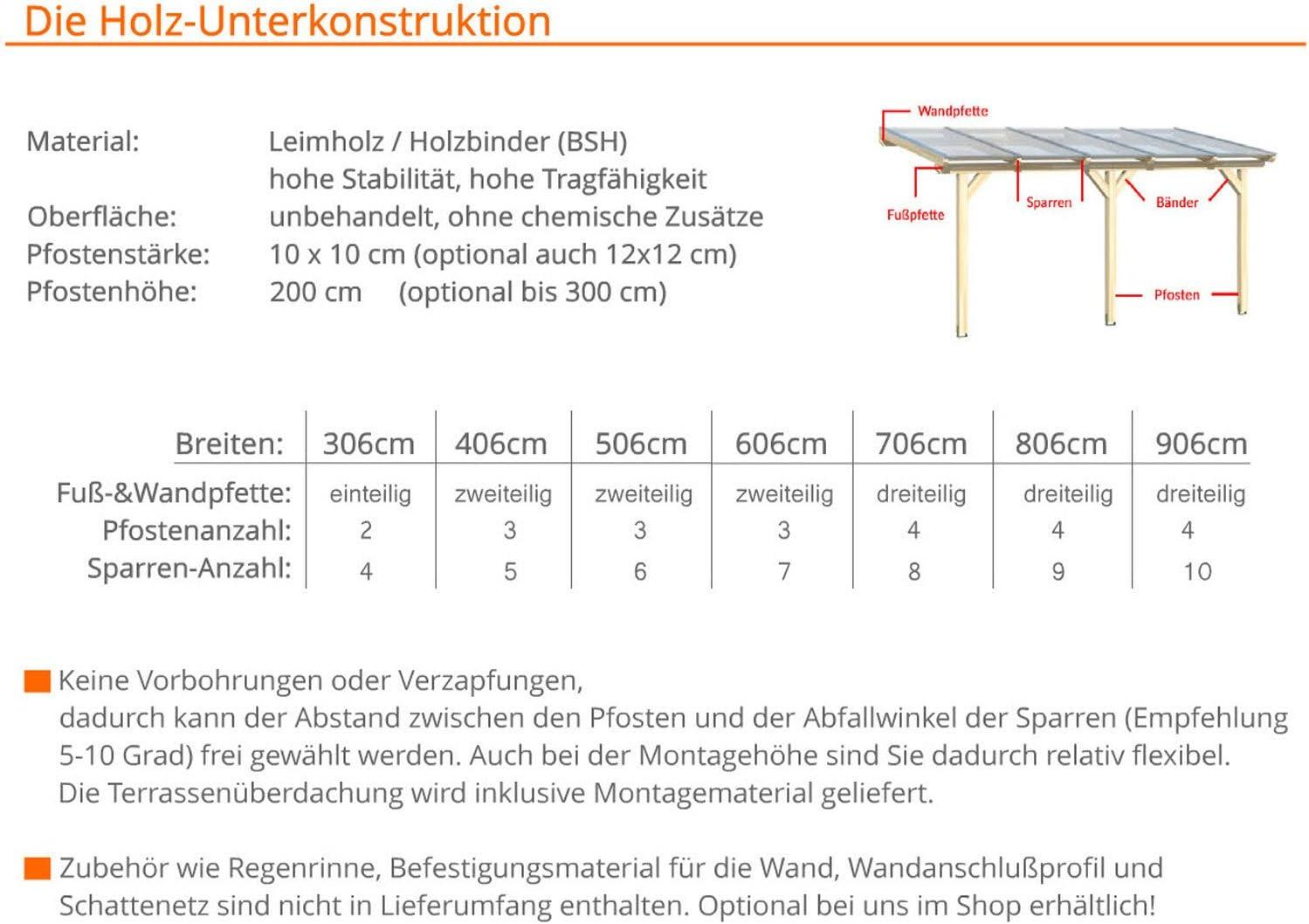 Unbehandelt // NATUR Terrassen/überdachung Leimholz /ÜBERDACHUNG TERRASSENDACH HOLZ VORDACH CARPORT TERRASSE WINTERGARTEN LEIMBINDER GARTENLAUBE PAVILLON 9 x 3 m solidBASIC mit VSG GLAS 900 x 300 cm Glasdach Verbundsicherheitsglas