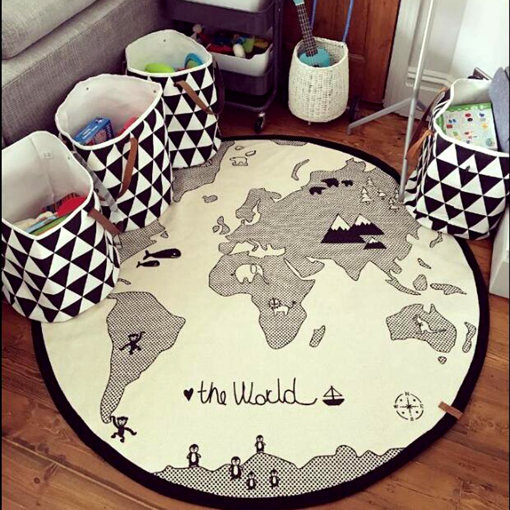 Hiltow World Map Rug Kids Rug Child Game Mats Baby Play Mat Round Area Rug (diameter 53 inches) L-15