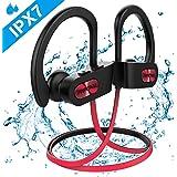 Mpow 【Etanche IPX7】 Écouteurs Sport Bluetooth 4.1 sans Fil, Intra Auriculaires Oreillettes Bluetooth Sport avec Micro Anti-Bruit, 7-9H Lecteur Musique pour iPhone,iPad Samsung-Rouge