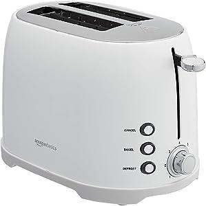 AmazonBasics 2-Slot Toaster, White (Renewed)