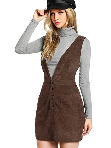 9add0077d24 Romwe Women s Cute Corduroy Pinafore Crisscross Back Straps Button Overall  Dress at Amazon Women s Clothing store