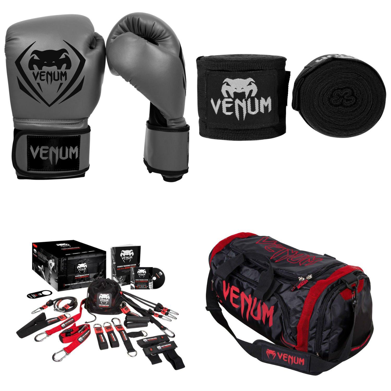 Contenderトレーニングバンドル8 グレー Gloves, 黒 Handwraps, 赤 Devil Sport Bag