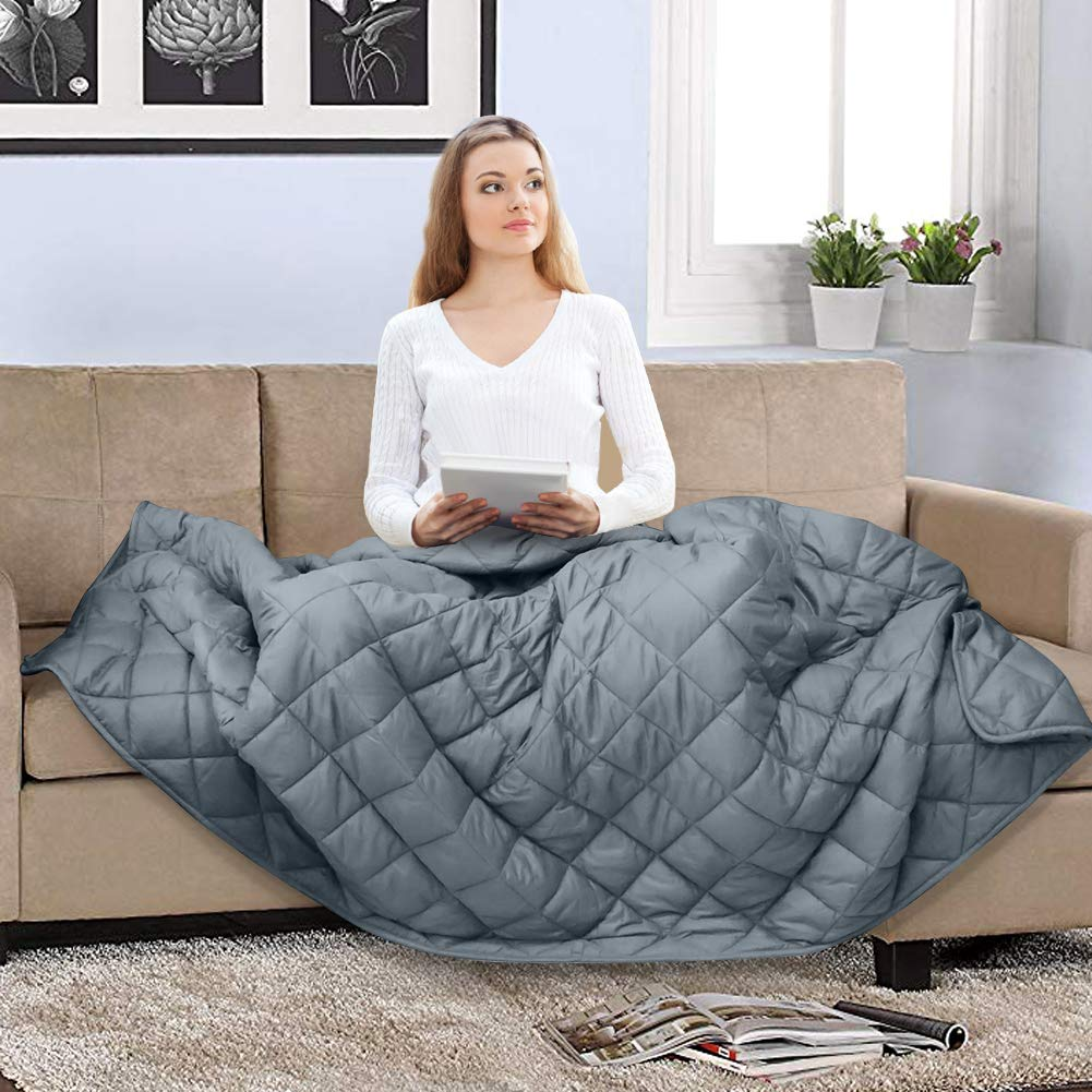 COCOBELA Weighted Blanket for Adult and Kids, 10 lbs 41''x 60'', Breathable Cotton and Premium Glass Beads (Grey)