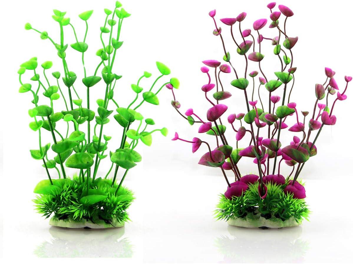 AW16Green Alegi Aquarium Plants Plastic Large,Fish Tank Decoration Ornament Artificial Plants 16in Tall