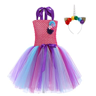 Mother & Kids Kids Girls Rainbow Style Ruffled Tutu Skirt With Cartoon Hair Hoop Set For Ballet Dance Party Swimsuit Dress Up Party Costumes