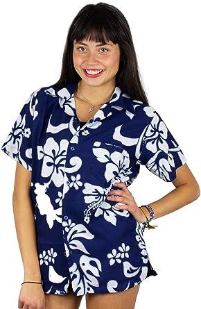 Original King Kameha | Funky Camisa Hawaiana | Mujeres | XS-6XL | Manga Corta Bolsillo Delantero | Impresión de Hawaii | Hibisco: Amazon.es: Ropa y accesorios