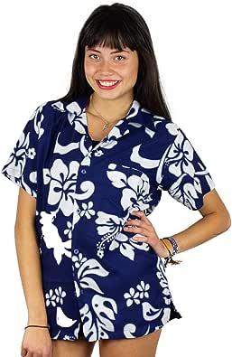 V.H.O Funky Hawaiian Blouse Women Short-Sleeve Front-Pocket Hibiscus Multiple Colors