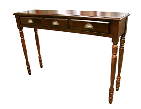 D-ART COLLECTION Mahogany Savanna Hall Table with 3 Drawers