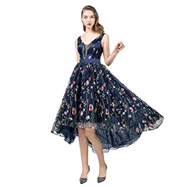 f964598bf PLMS Floral High Low Prom Dress Junior Holiday Party Dress at Amazon ...