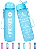 Fidus 32oz/22oz Motivational Water Bottle with Time Marker & Straw Lid, Leakproof BPA Free Tritan Wide Mouth, Ensure You…