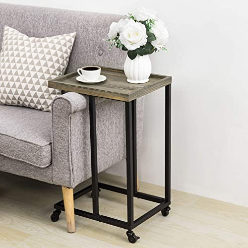 MyGift 26-Inch Vintage Gray Wood Black Metal Frame Under Couch Sofa Side Mobile Rolling End Table