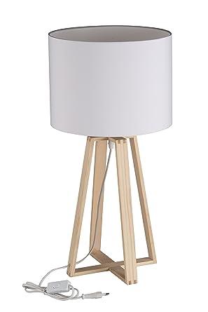 Grundig Tischlampe 62 5 Cm Mit 1 2 M Kabel Holz Weiss 30 X 30 X 61