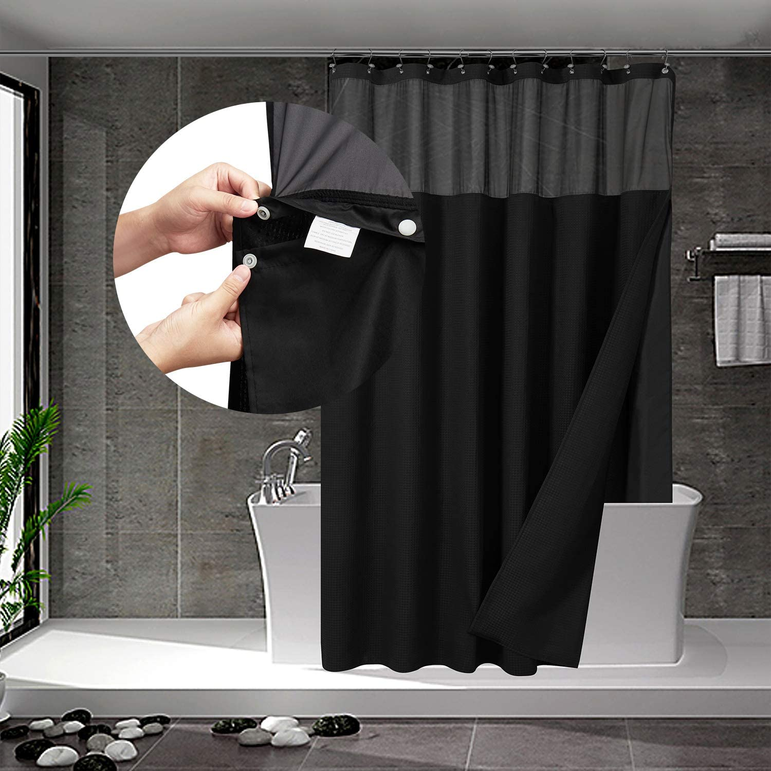 waffle weave shower curtain with snap in fabric liner set 12 hooks included hotel style water repellent washable mesh top window 71x72 black