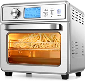 COOCHEER 16 in 1 Air Fryer Oven, 21QT Convection Air Fryer Toaster Oven Combo with LED Display/Temperature/Time Dial, 1700W Large Airfryer Oven, Oil Less/Stainless Steel, for Bake, Pizza, Defrost, Broil and Food Dehydrator