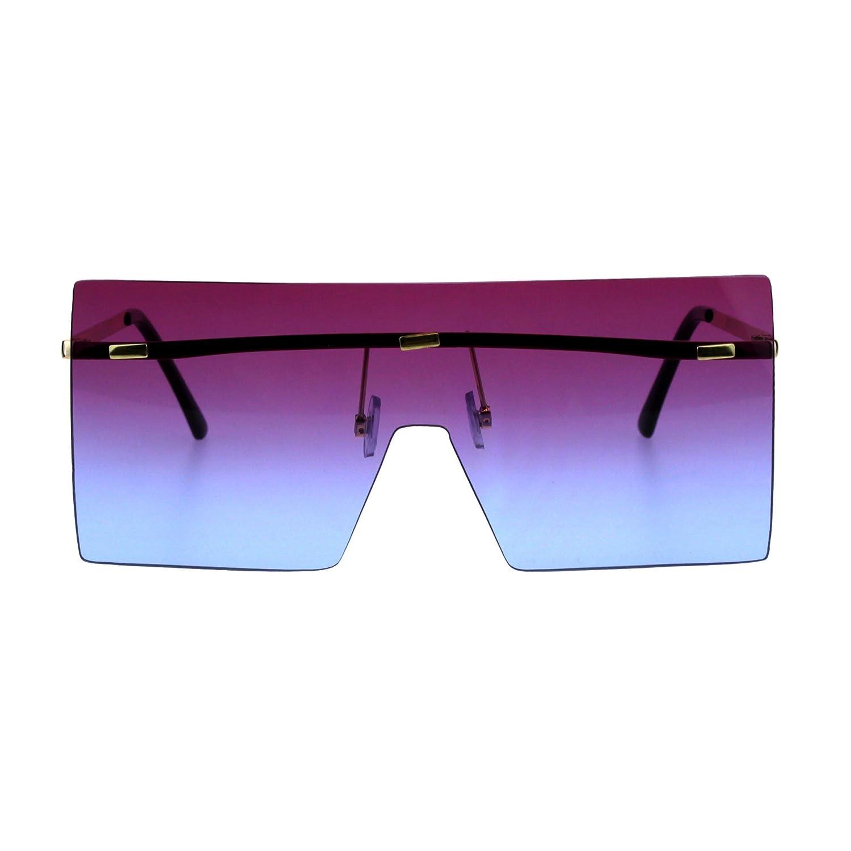 a5137e9a28 Amazon.com  Futuristic Rimless Shield Oceanic Gradient Robotic Metal Rim  Sunglasses Gold Purple Blue  Clothing
