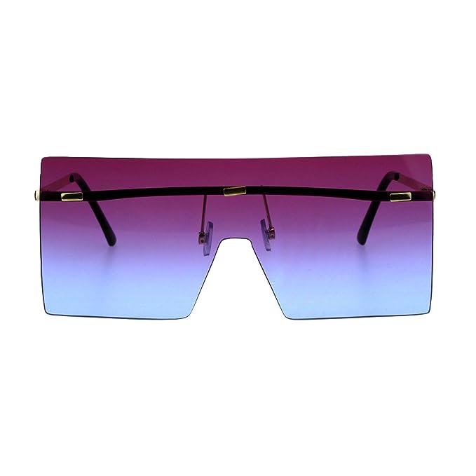 12e289289a Futuristic Rimless Shield Oceanic Gradient Robotic Metal Rim Sunglasses  Gold Purple Blue