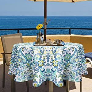 Ebecede 60 Inch Round Outdoor Tablecloth with Zipper Umbrella Hole, Round Patio Tablecloth Cover for Garden Decor Restaurant Party Boho Rustic Floral Printed