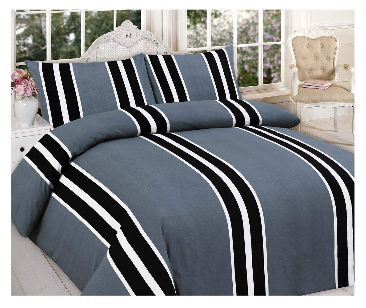 100/% Cotton Grey Flannelette Duvet Cover Quilt Bedding Bed Set Brushed Cotton