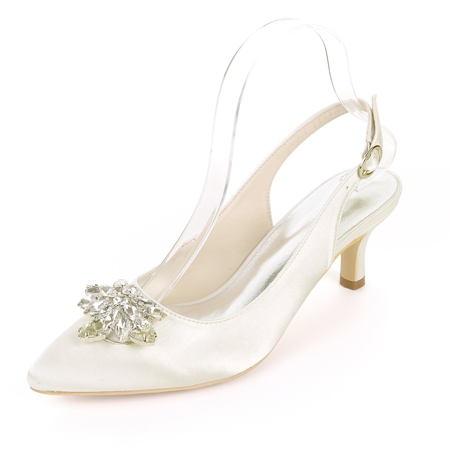Ivoire Wedding chaussures for for femmes Satin Pointed Buckle Rhinestone crystal High Heels Pumps Summer Kitten Party Vintage Wedding chaussures 6CM  le magasin