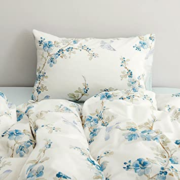 garden chinoiserie floral duvet quilt cover asian porcelain style tree blossom and birds blue and white - Floral Duvet Covers