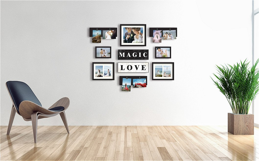 Picture Frame Set on Wall Art Decoration Sticker in Family Living Room and Bedroom (Magic Love)