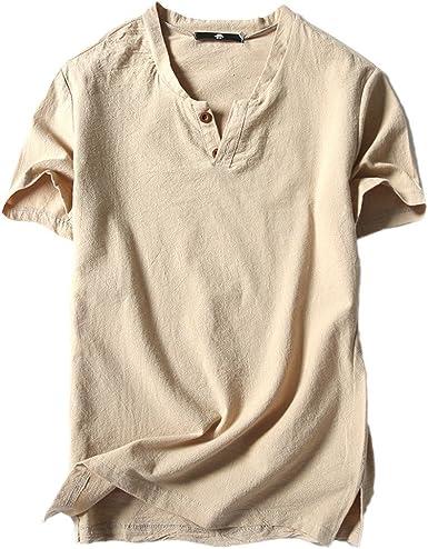 Camiseta para Hombre, Verano Algodón y Lino Manga Corta Color sólido Moda Casual Suelto T-Shirt Blusas Camisas Camiseta Cuello en v Suave básica Camiseta Top vpass: Amazon.es: Ropa y accesorios