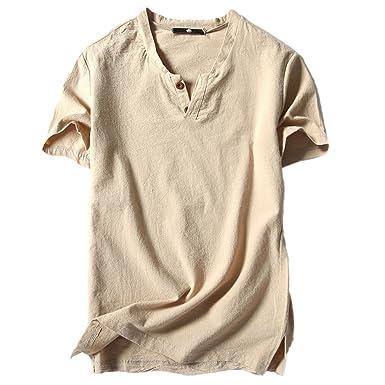 322ac056a1e4 FRAUIT Herren Leinen Kurzarm Knopf T-Shirt Bequem mit V-Ausschnitt Top  Bluse Tee Slim Fit T-Shirt Leicht Basic Sweatshirt in Vielen Farben Feine  Männer ...