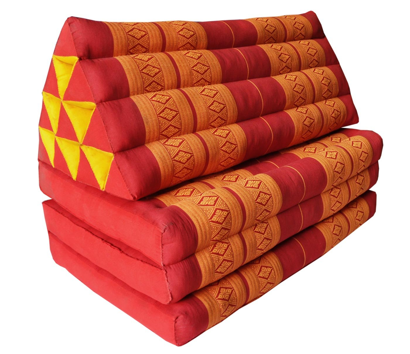 Thai triangle cushion/mattress XXL, with 3 folding seats, red/orange, sofa, relaxation, beach, pool, meditation, yoga, made in Thailand. (81018) by Wilai GmbH