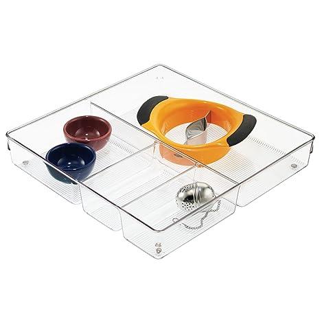 InterDesign Linus Organizador de cajones, cubertero para cajones de cocina extragrande en plástico para guardar