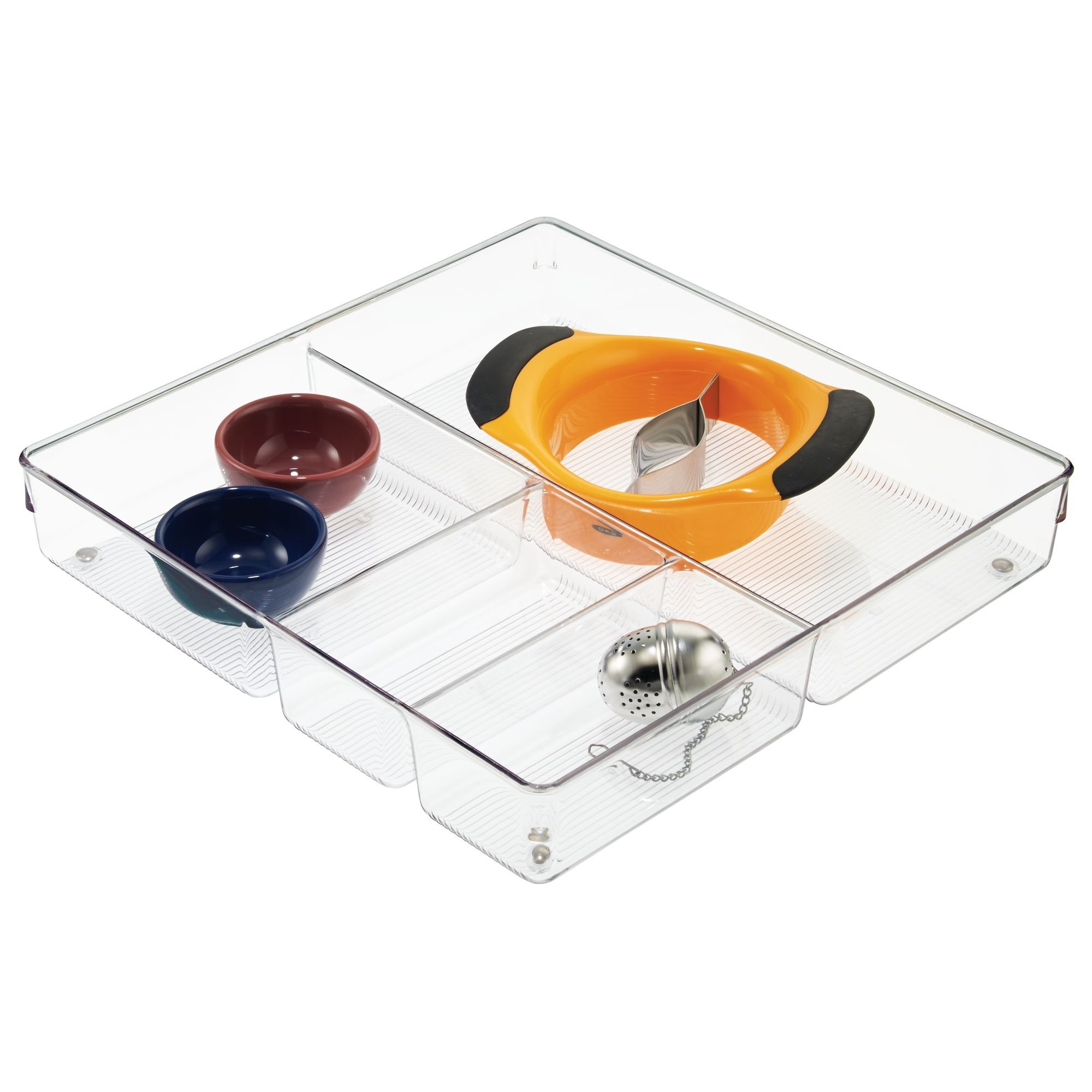 InterDesign Linus Plastic Grand Divided Organizer, Storage Container for Kitchen, Vanity, Bathroom Drawers, 12'' x 12'' x 2'' Clear