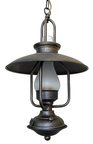 Lámpara colgante rustica colonial y náutica, quinque de 1 luz pequeña