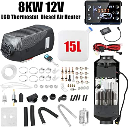 FlowerW 5KW Diesel Air Heater 12V Parking Heater with 2 Silencers for TrucksTrailer Boats