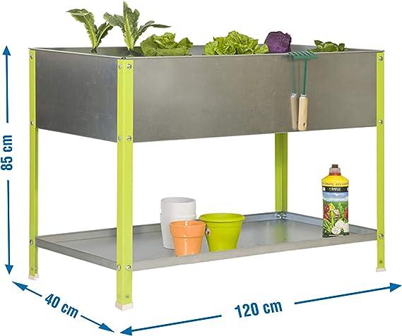410 x 1200 x 600 mm Green//Galvanized Simonrack 200L Urban Garden Shelf
