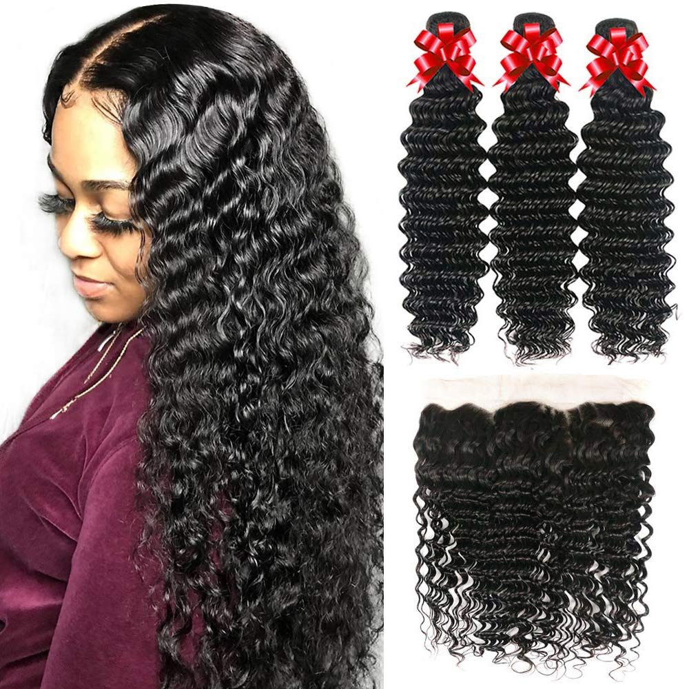 Recifeya hair Deep Wave Bundles with Frontal Brazilian Hair Bundles with Frontal Virgin Hair 100% Unprocessed Ear to Ear Lace Frontal with Bundles Human Hair Extensions Natural Color (18 20 22+16)