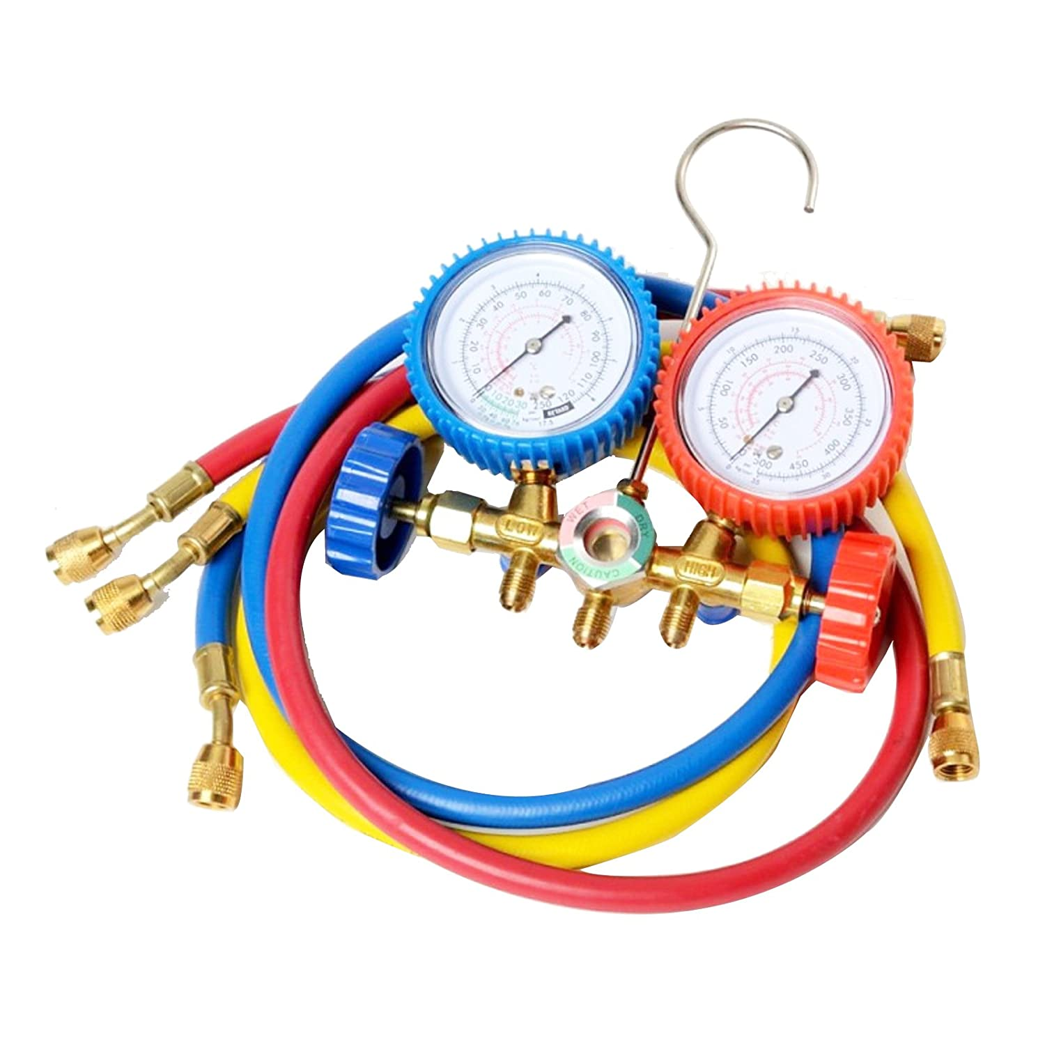 Aozzy Refrigeration Air Conditioning AC Diagnostic Manifold Gauge Tool Set for R134A R12 R22 R502 Refrigerants Hoses Coupler Adapters