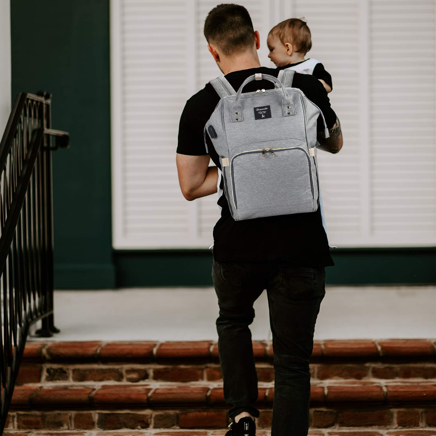 Navy Blue3 Large Capacity Diaper Tote Bag Multi-Function Waterproof Travel Backpack Organizer with Stroller Straps for Mom Dad Work or Outing Baby Nappy Changing Backpack
