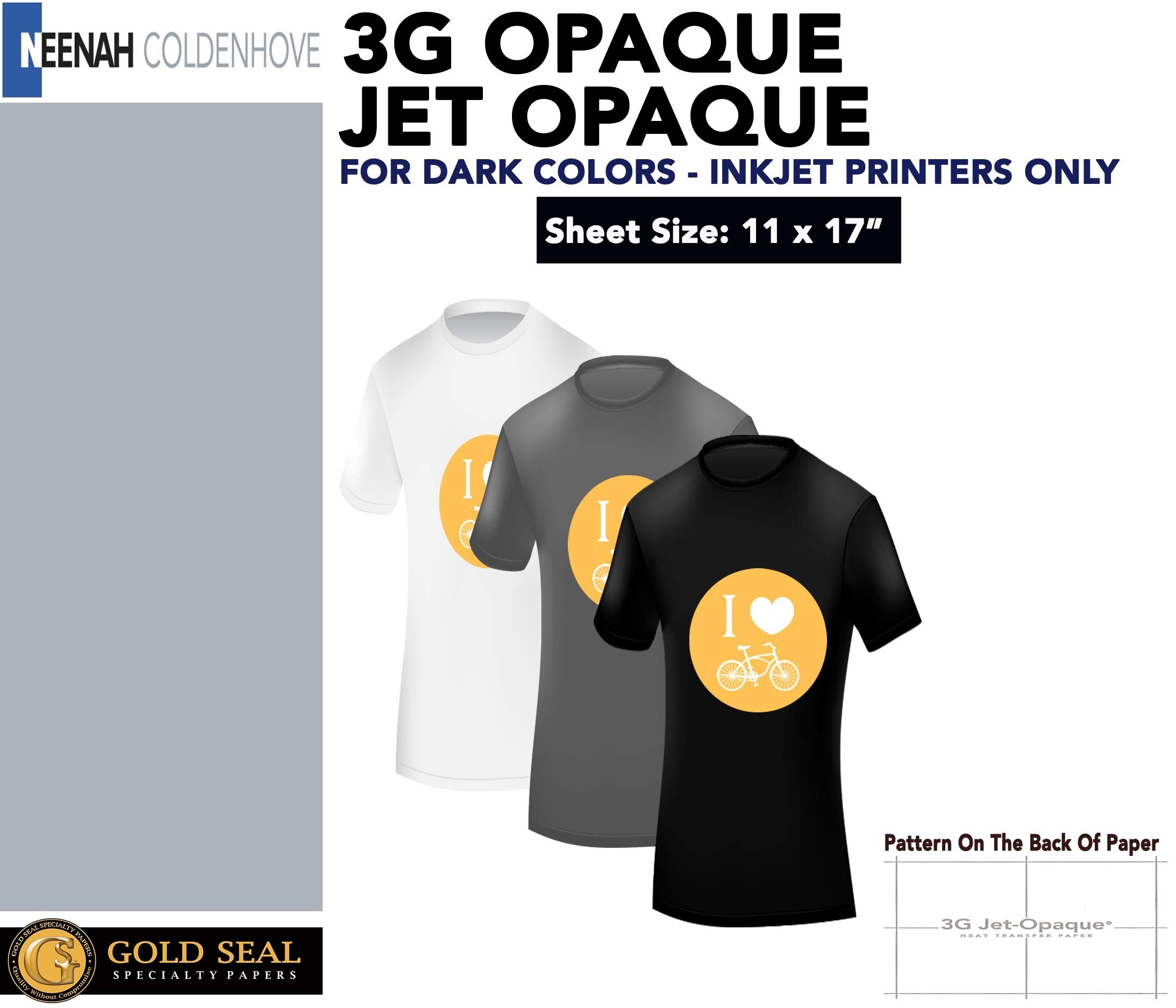 INKJET TRANSFER PAPER FOR DARK FABRIC: NEENAH ''3G JET OPAQUE'' (11''x17'') 100Pk :)