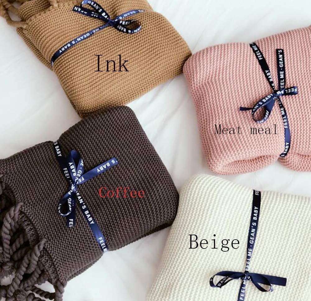 Yunyilian タッセル装飾毛布、ツイストニット毛布、厚手の毛布(綿) (Color : Meat Meal, サイズ : 130/180cm) B07T7VTY3W Meat Meal 130/180cm