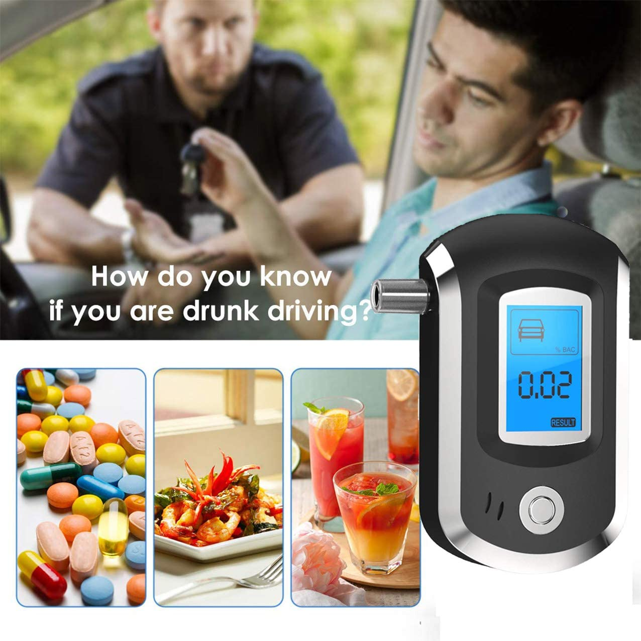 LIK Alcohol Tester Breathalyzer Professional Semiconductor Digital LCD Display Alcohol Detector Semiconductor Alcohol Breathalyzer with 20 Mouthpieces for Personal Home Use