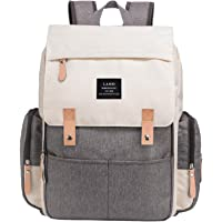 Harmony Life Land Backpack Diaper Bag for Mom/Dad, Baby Care Nappy Bag for Boys/Girls, Waterproof Travel Knapsack, Changing Pad, Beige&black, Large