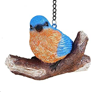 Blue Bird Statues Figurines for Outdoor or Indoor, Adorable Blue Bird Hanging Ornaments Decoration Sculptures for Garden, Yard or Patio,3.4