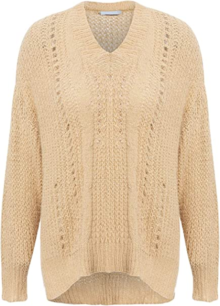 Womens Ladies Chunky Knitted Boat Neck Long Sleeve Eyelet Lace Pullover Jumper