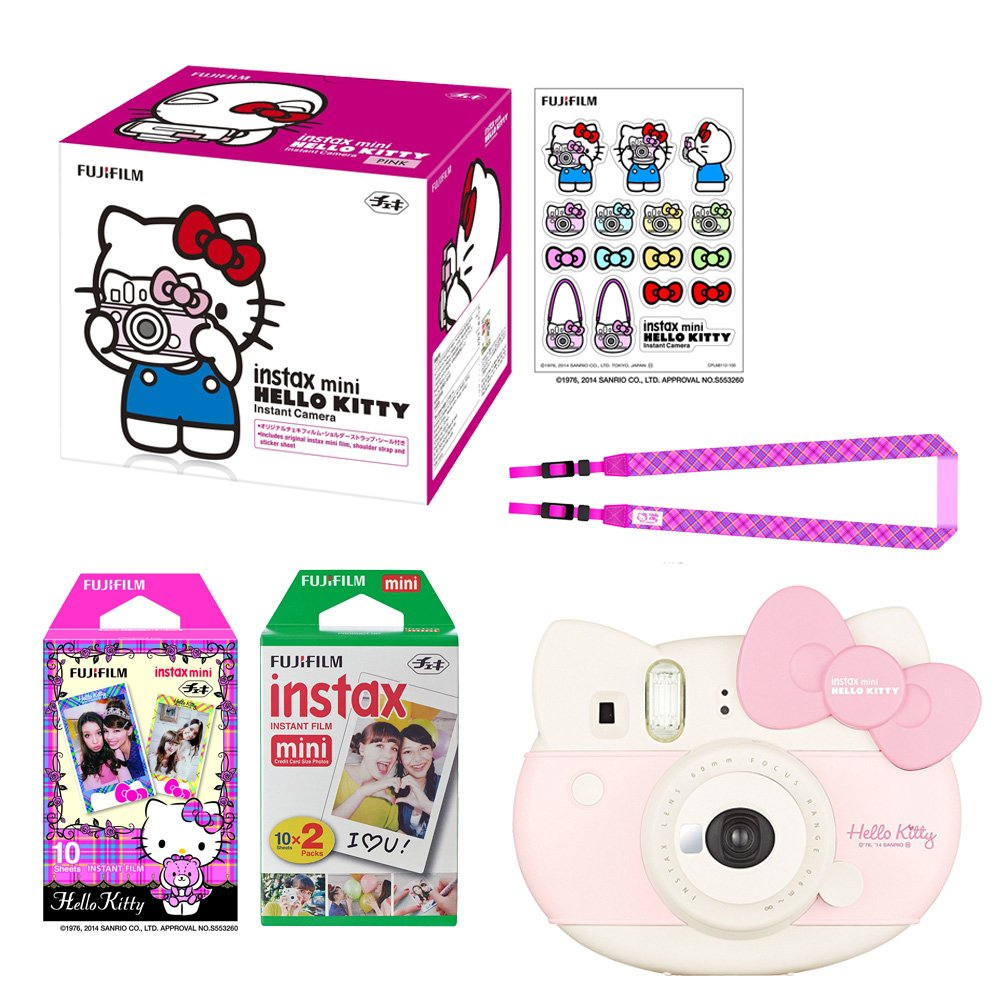Fujifilm Instax Mini ''Hello Kitty'' Instant Camera Set! with Instax Mini Film, Twin Pack (20 Shoots) + Hello Kitty Film (10 Shoots) + Shoulder Strap + Stickers