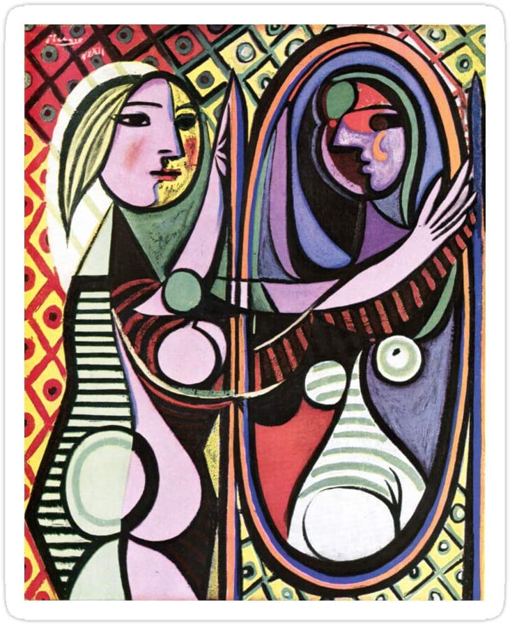 creamrinhz (3 PCs/Pack) Pablo Picasso Girl Before A Mirror 1932 3x4 Inch Die-Cut Stickers Decals for Laptop Window Car Bumper Helmet Water Bottle