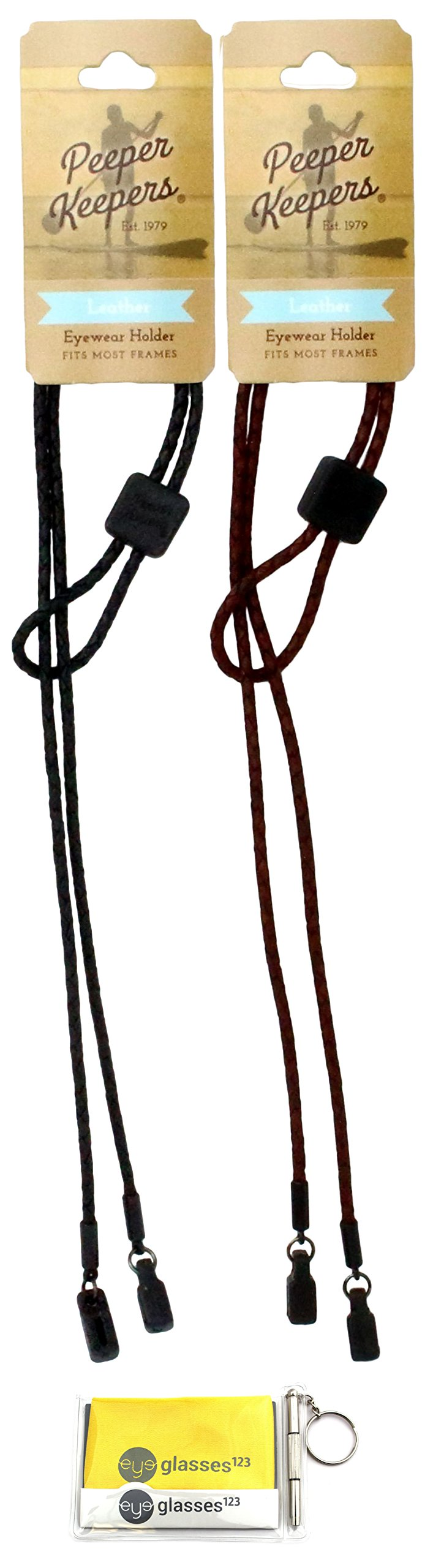 Peeper Keepers Braided Leather Adjustable Eyeglass Retainer, Black and Light Brown, 2 pack mix, w/Cloth & Screwdriver